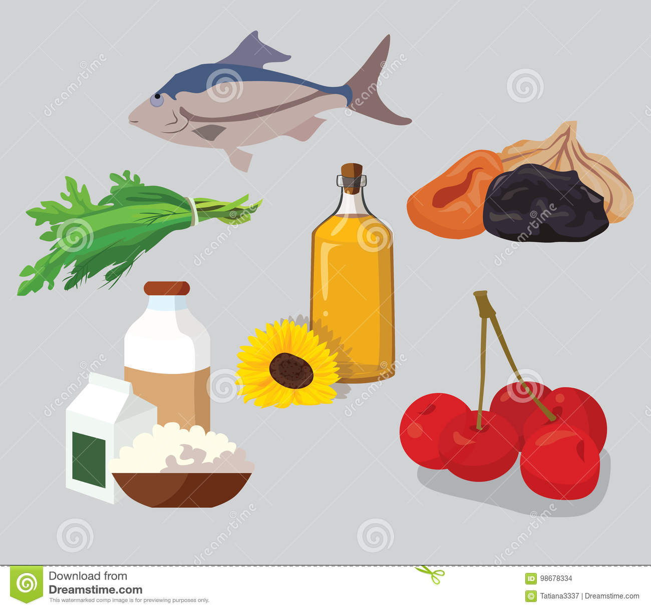 Dried fruits, cherries, dairy products, greens, vegetable oil, f