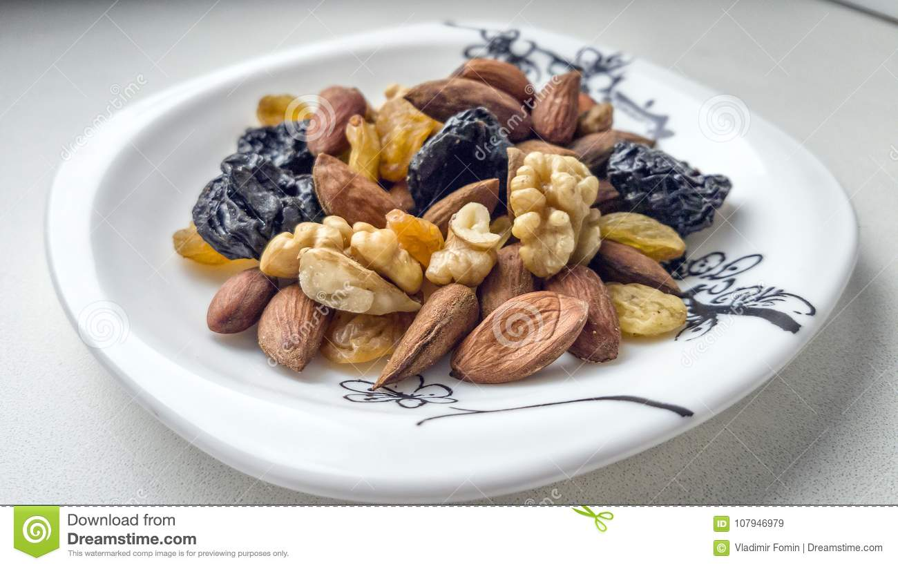 Dried fruits and nuts.