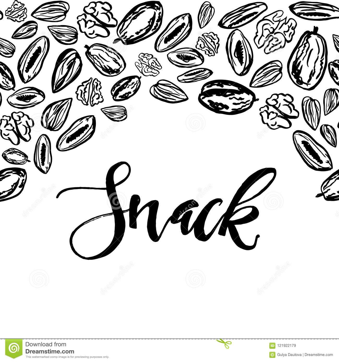 Dried fruits and nuts pattern on white background
