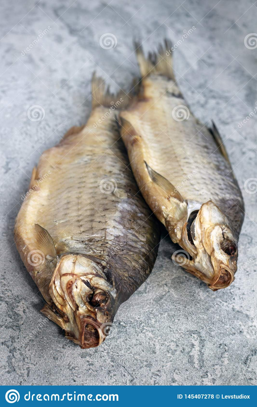 Dried fish lies on the table river fish
