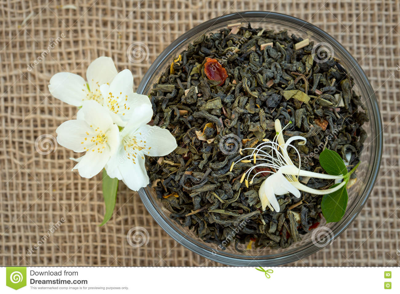 Dried Green Tea And Jasmine Flowers Stock Photo Image Of Drink