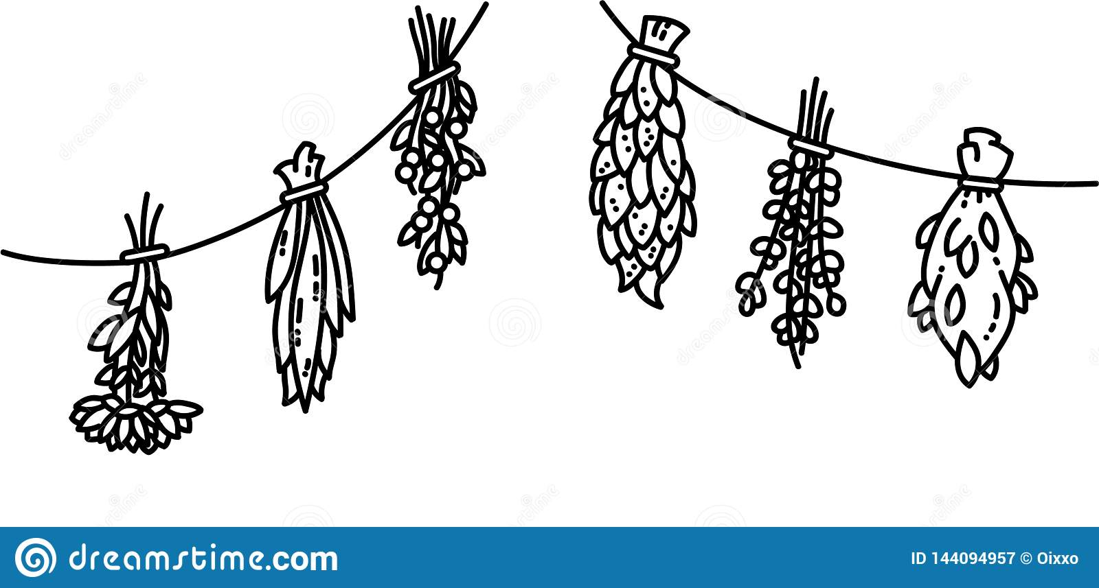 Dried herbs flat vector style black and white ornament