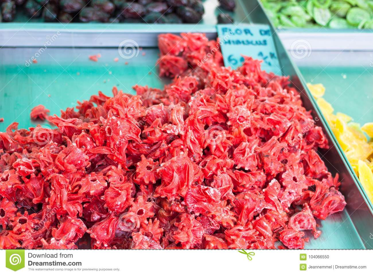 Dried hibiscus flowers flor de hibiscus for sale in the stall of royalty free stock photo izmirmasajfo