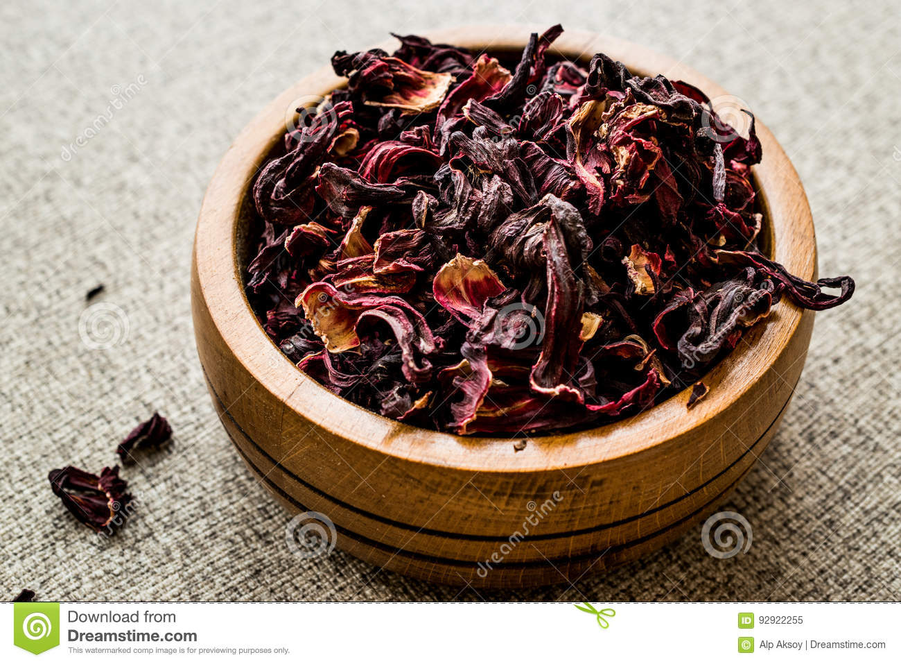 Dried Hibiscus Flowers In Wooden Bowl Stock Image Image Of Aroma