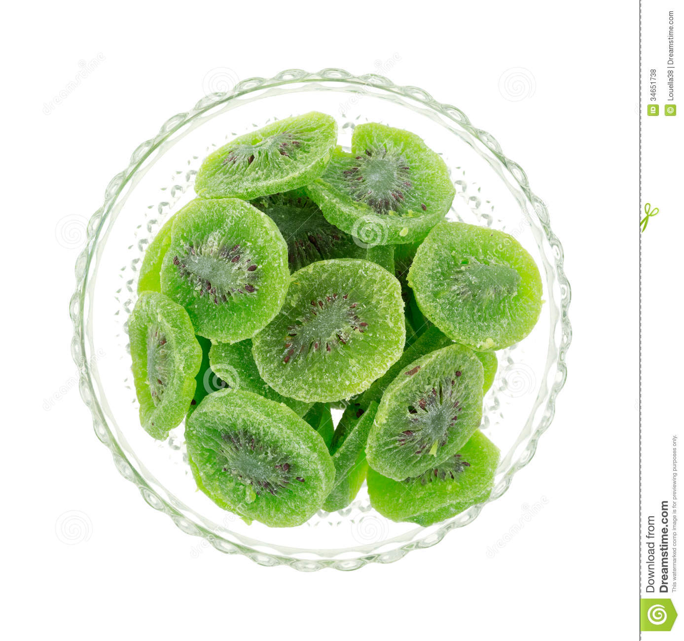 Dried Kiwi Fruit In Bowl Top View