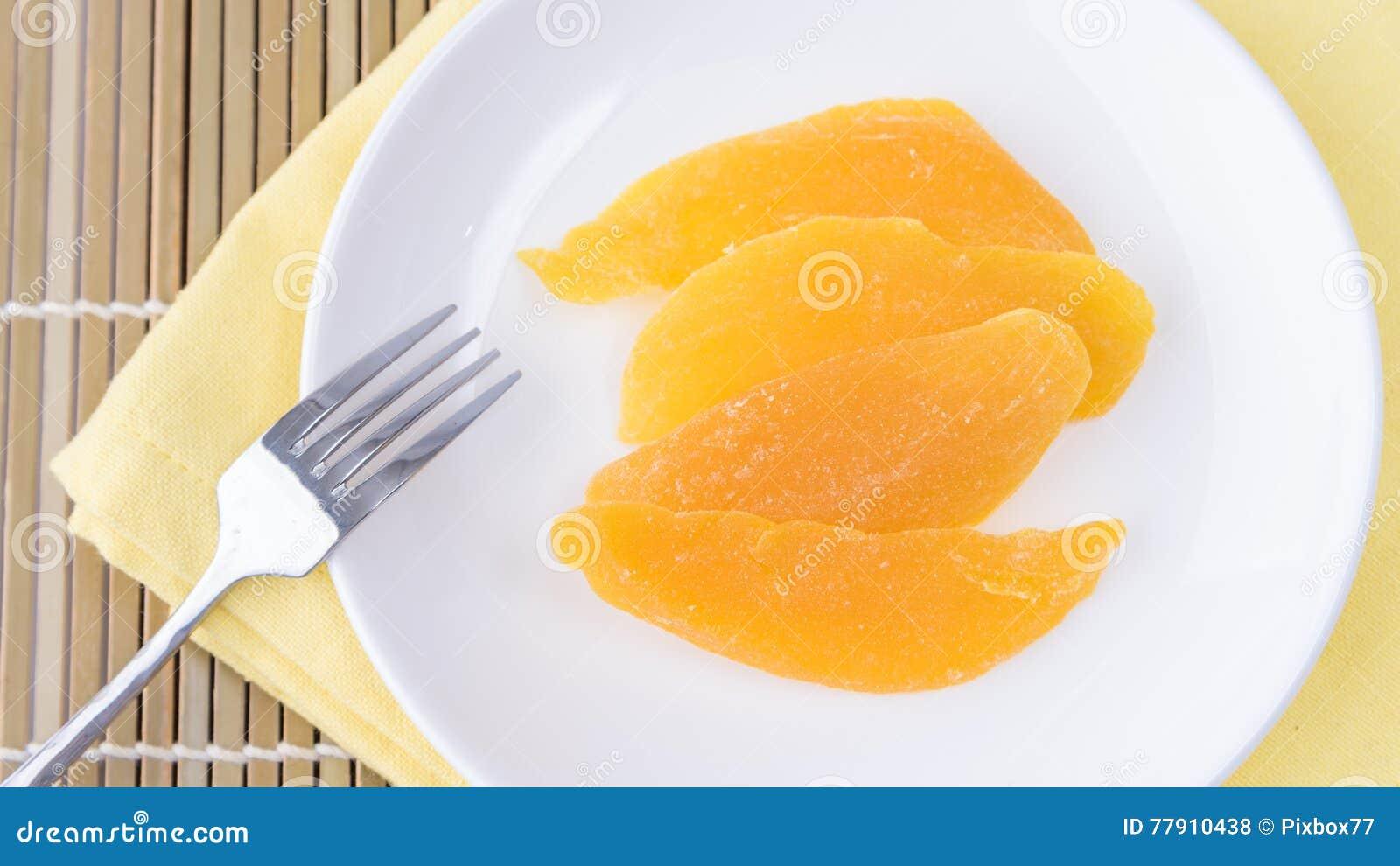 Dried Mango In White Dish Stock Photo Image: 77910438