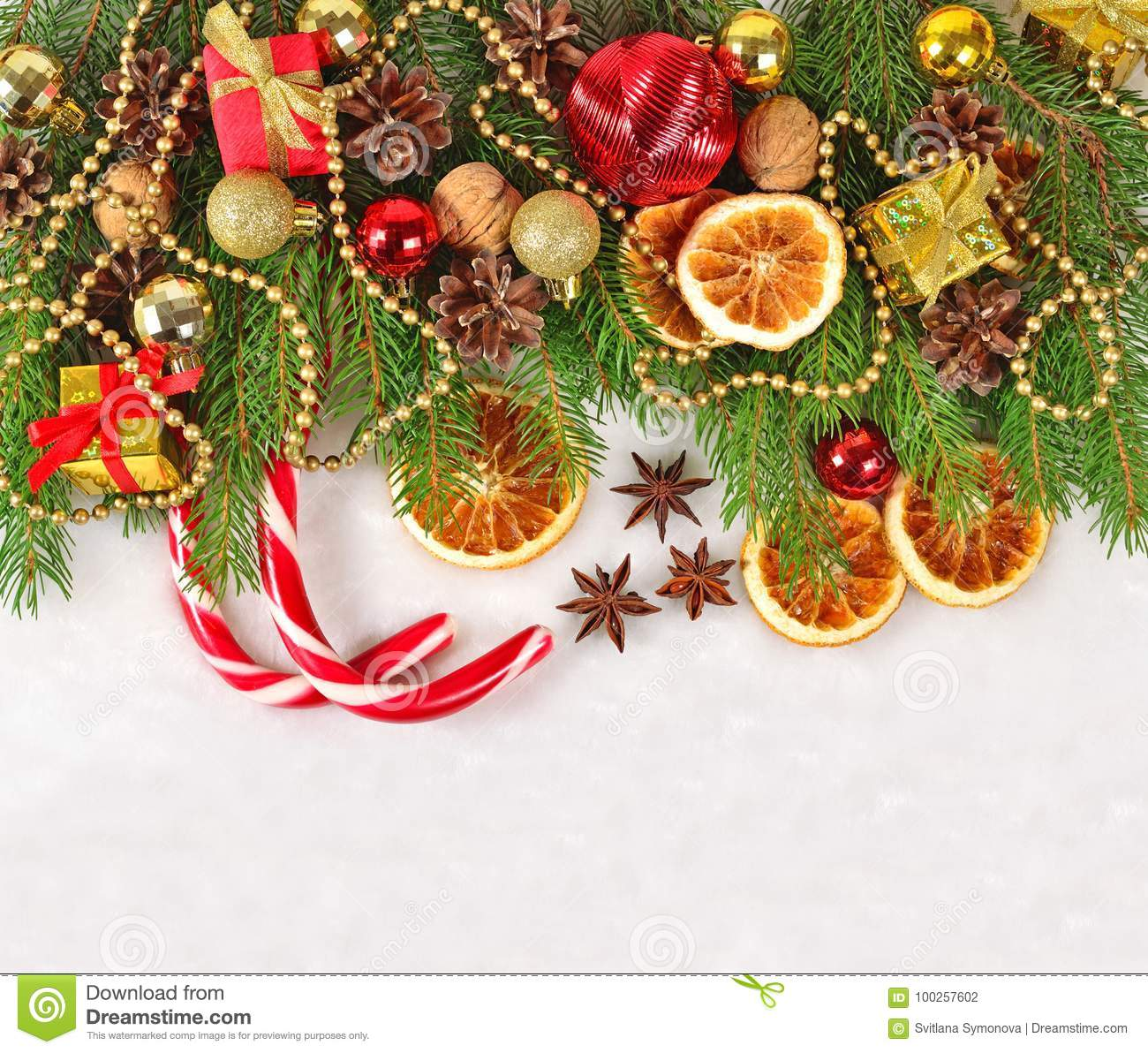 Dried Oranges And Cones Christmas Decorations And Spruse Branch