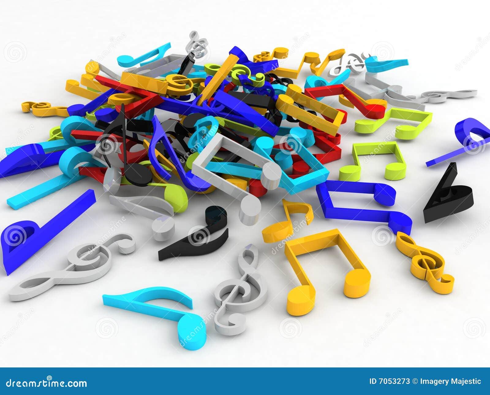 Driedimensionele bos van muzieknoten