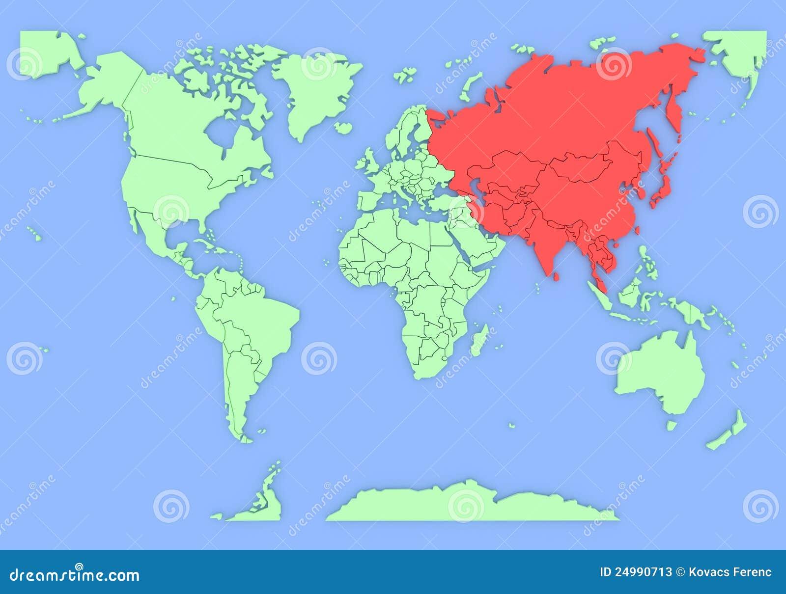 Driedimensionele kaart van ge soleerd azi 3d stock illustratie afbeelding 24990713 - Thuisconsole van de wereld ...