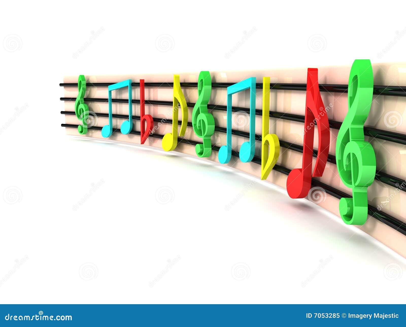 Driedimensionele kleurrijke muzikale sleutels