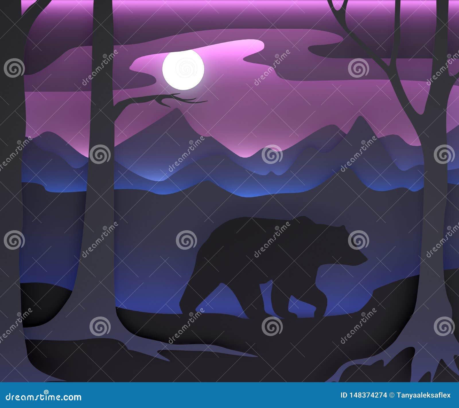 Driedimensionele samenstelling met een beer en de maan