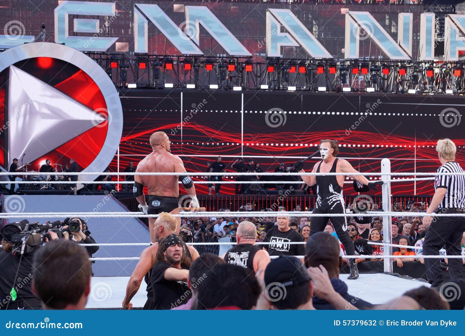 Drievoudig H houdt voorhamer en Sting houdt knuppel in ring tijdens m