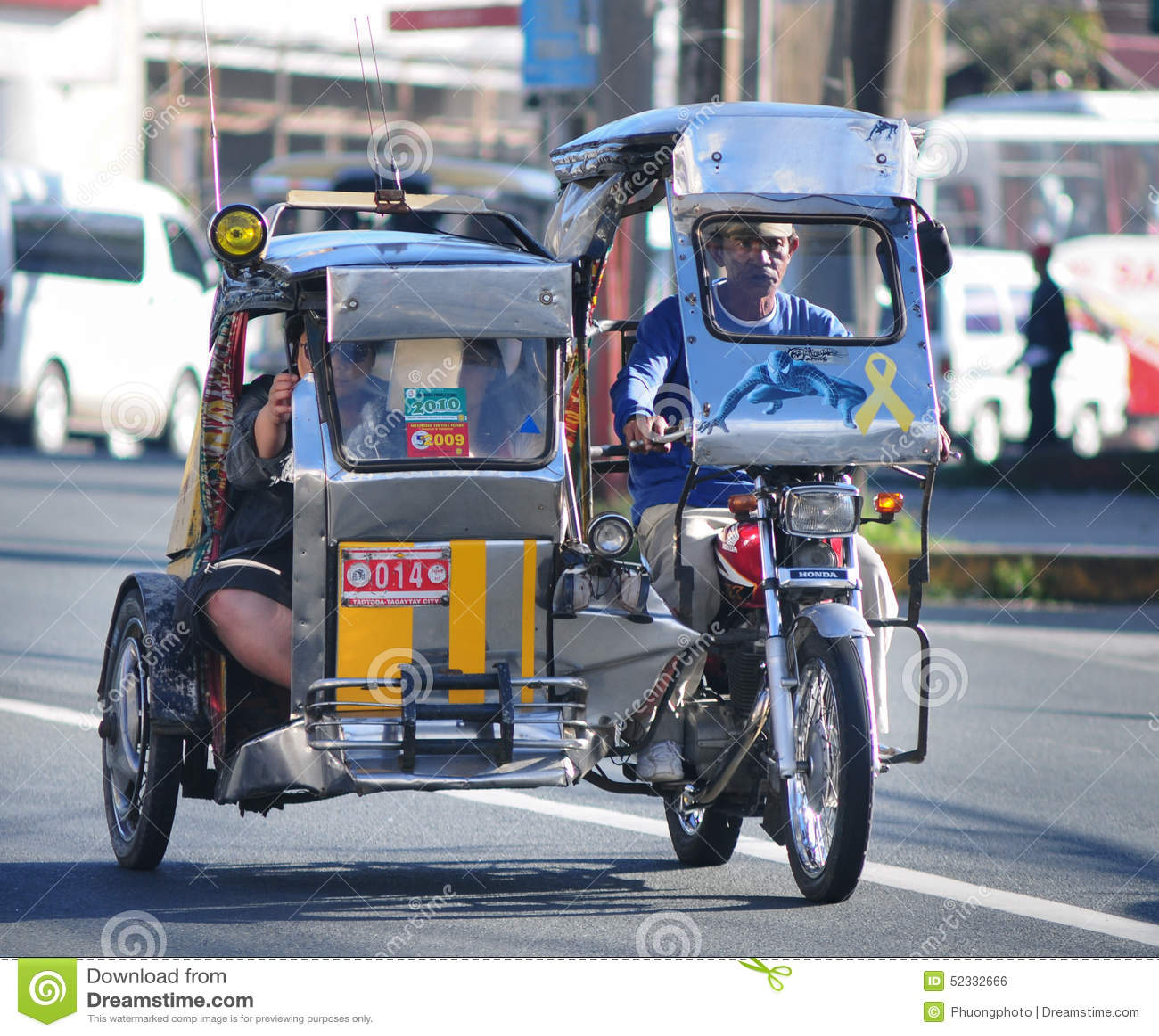 Driewieler op de straat, Boracay, Filippijnen