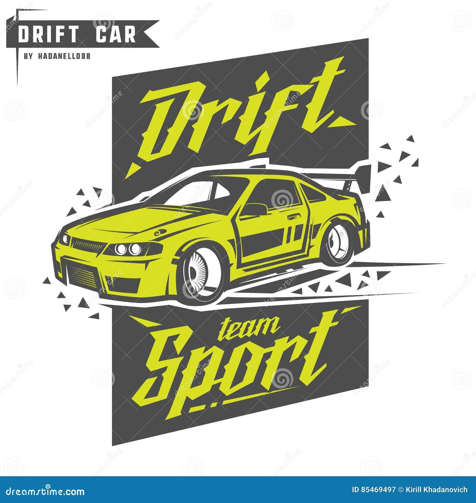 Drift Sport Team Print For T Shirt Emblems And Logo Stock Vector