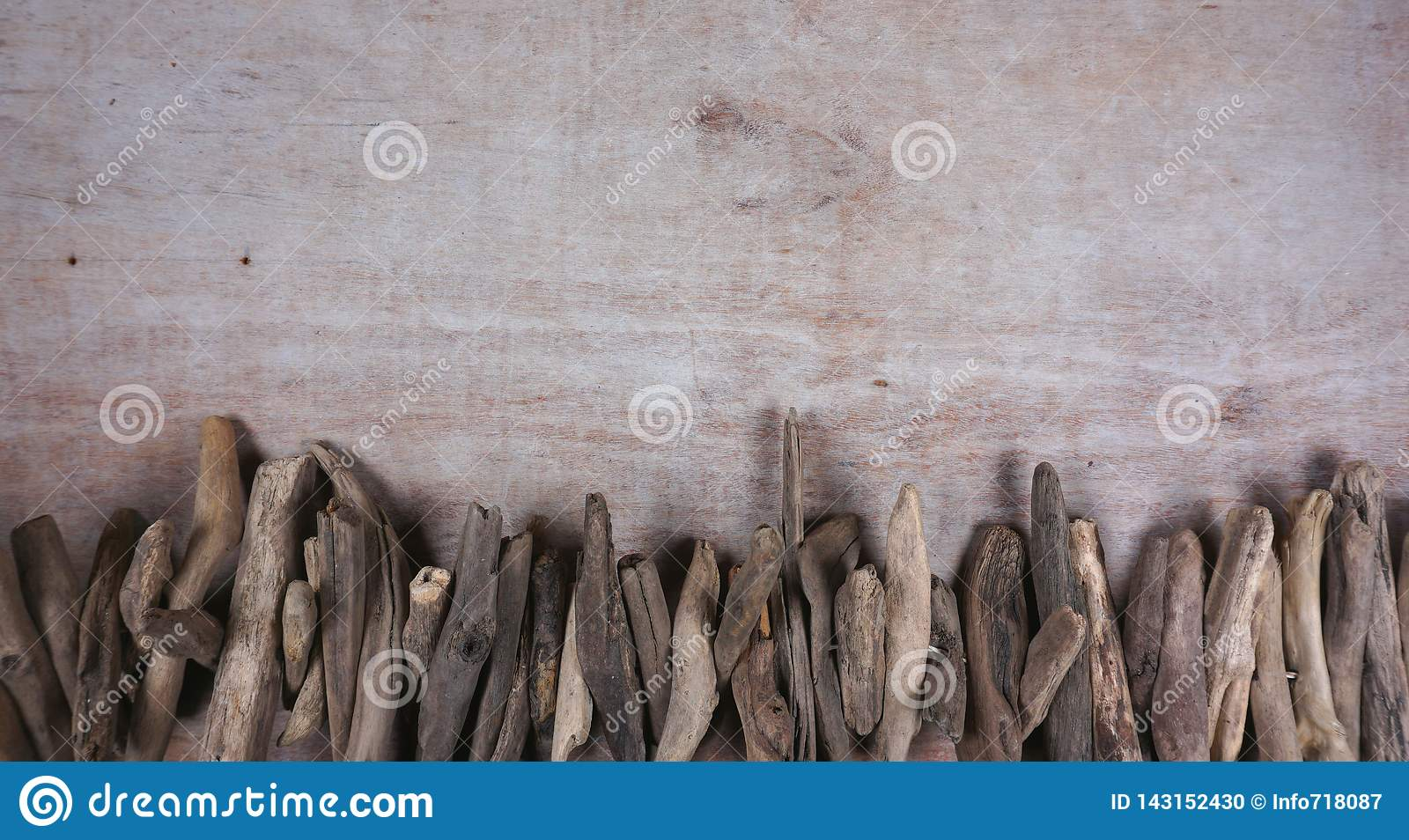 Drift wood at wooden background, decoration, maritime items, sea objects with copy space for your own text