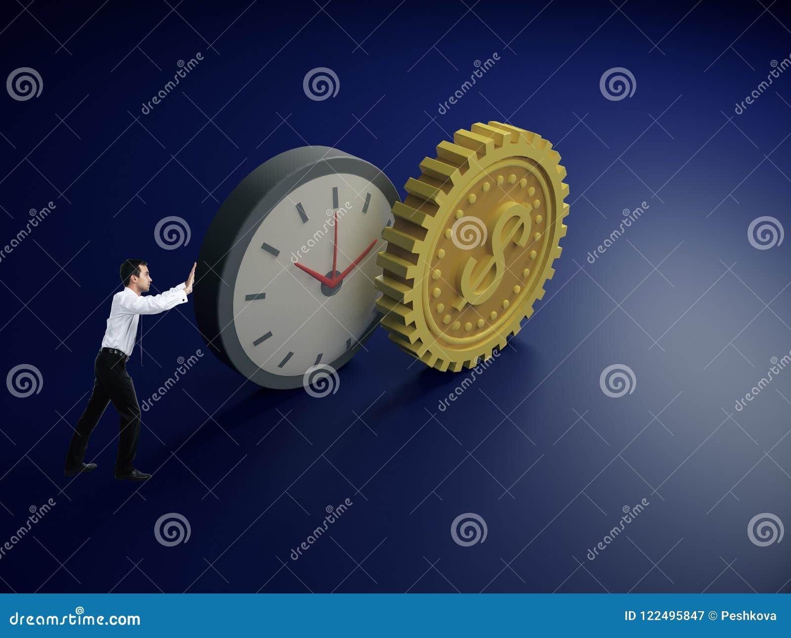 Driftig abstrakt klocka- och kugghjuldollar för affärsman