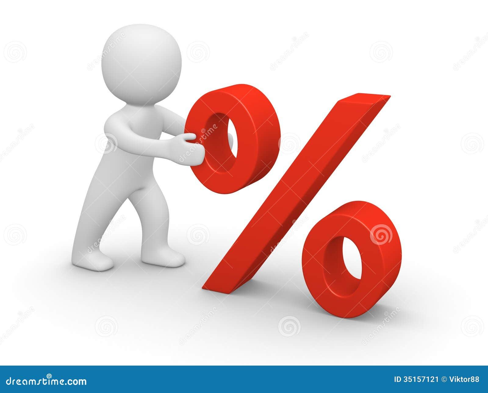 Driftigt rött procenttecken för man 3d