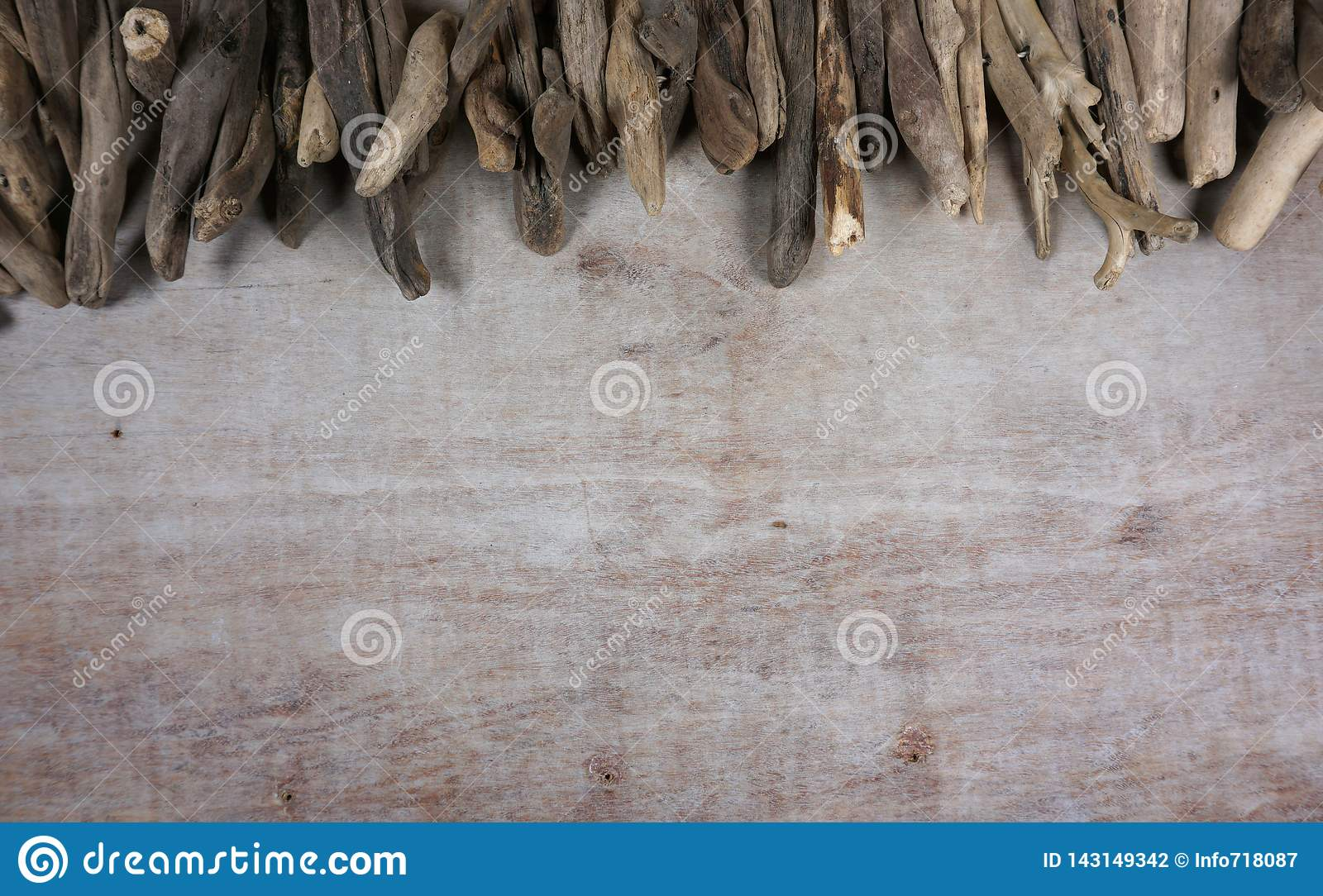 Driftwood At Wooden Background Decoration Maritime Items Sea Objects With Copy Space For Your Own Text Stock Photo Image Of Driftwood Copyspace 143149342