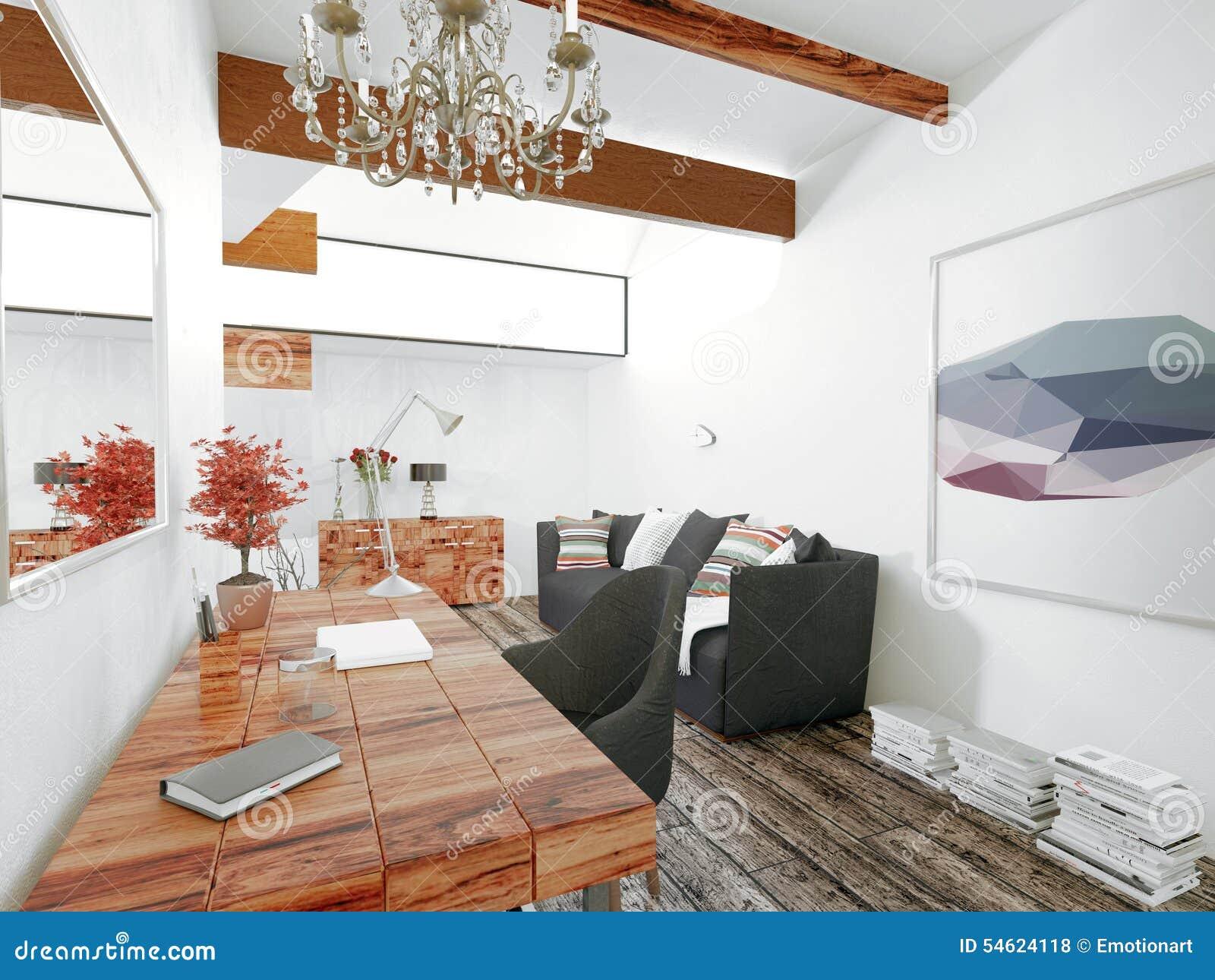 Drijvend houten bureau met kroonluchter in modern huis stock