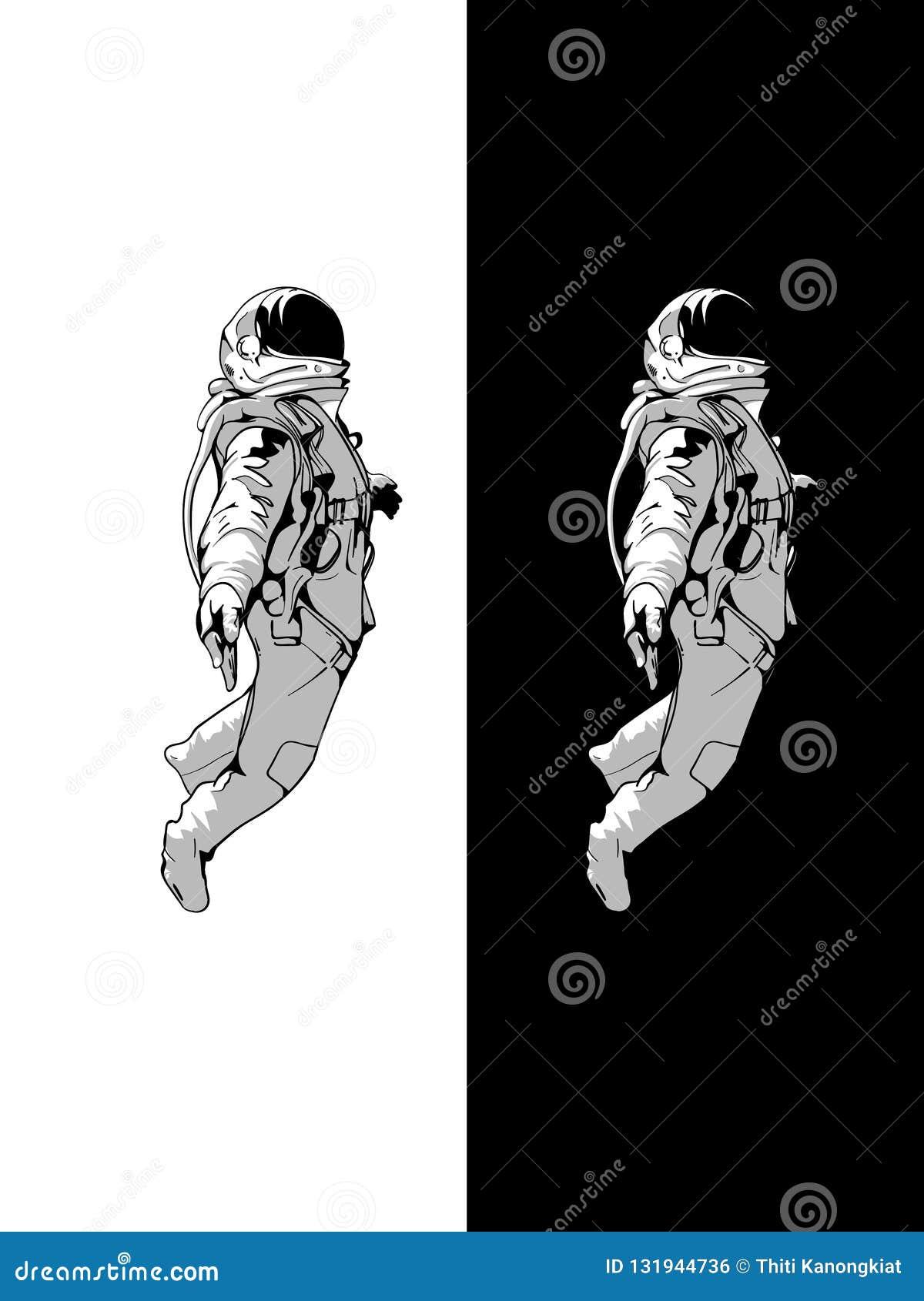 Drijvende Astronaut, Ruimtevaardersgoed met zwarte achtergrond, schaduwontwerp, Vectorontwerp