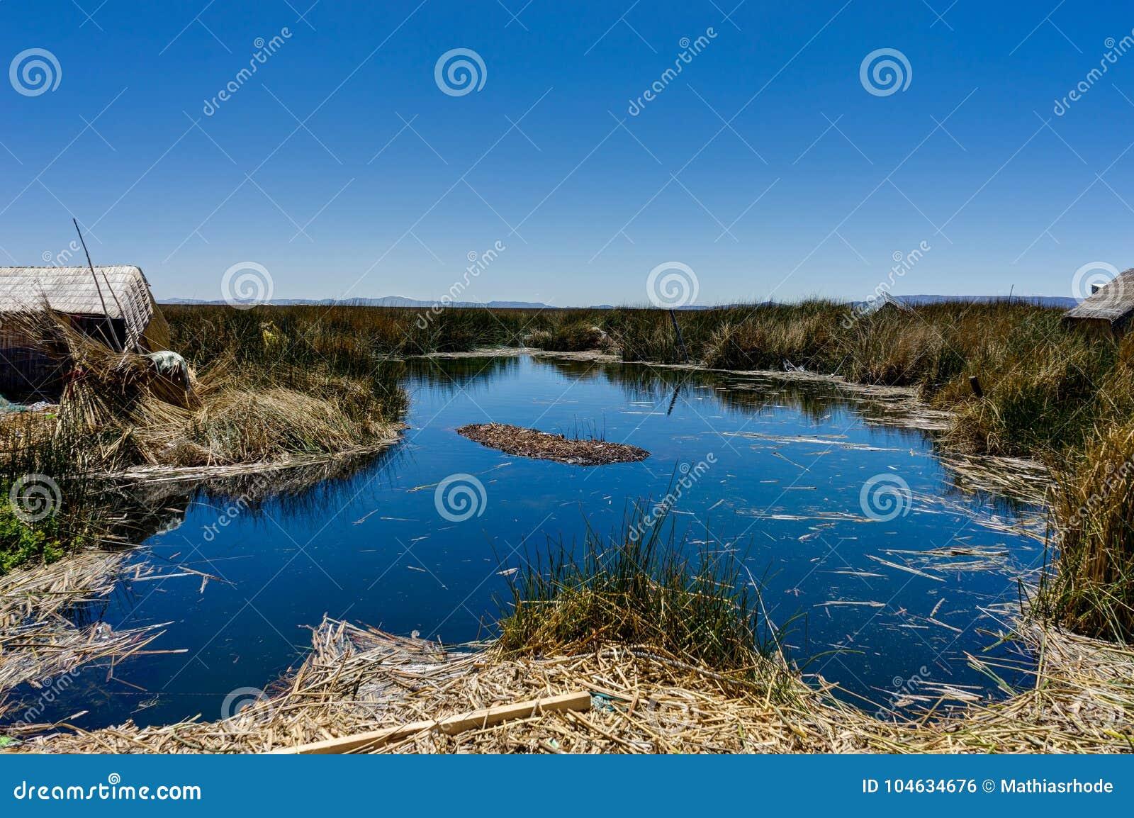 Download Drijvende Die Eilanden Uit Totora-riet Dichtbij Huatajata, Bolivië Worden Samengesteld Stock Foto - Afbeelding bestaande uit moeras, bestemming: 104634676