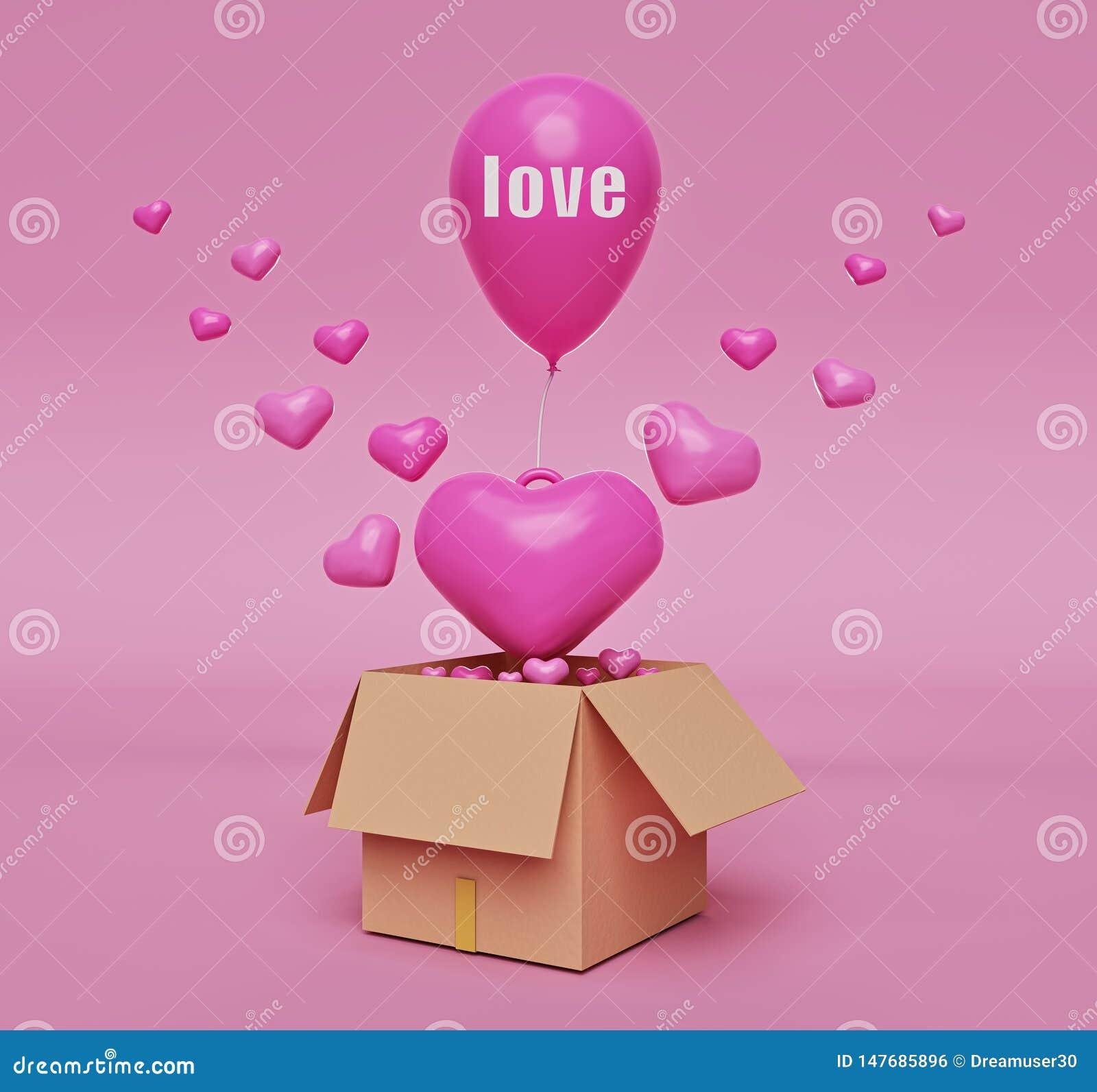 Drijvende roze harten van geopende doos het 3d teruggeven
