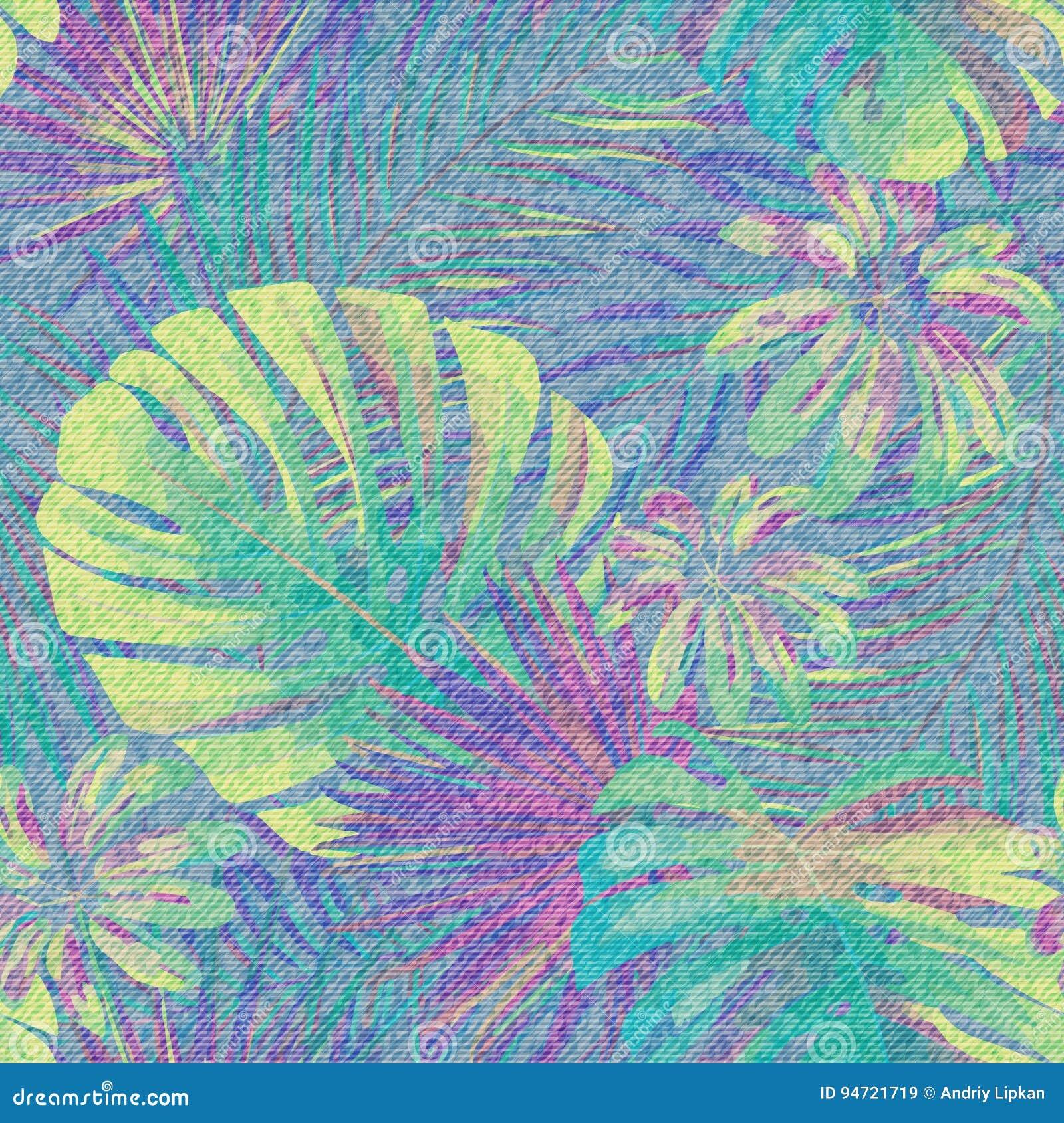 Dril de algodón azul claro con el estampado de flores colorido Fondo inconsútil de las plantas exóticas hermosas Hoja tropical de