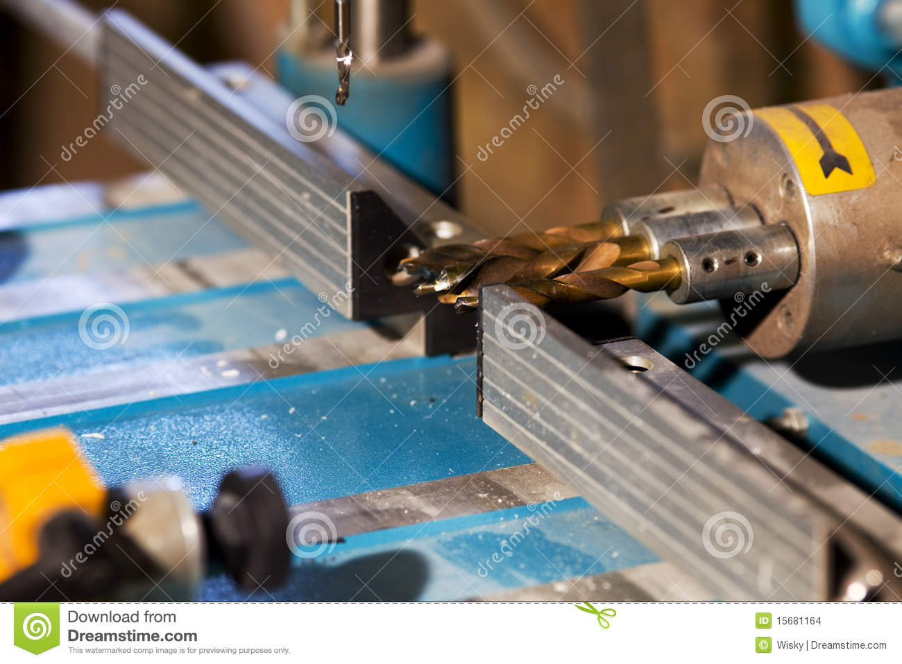 Drill for hole in plastic stock photo. Image of machine - 15681164