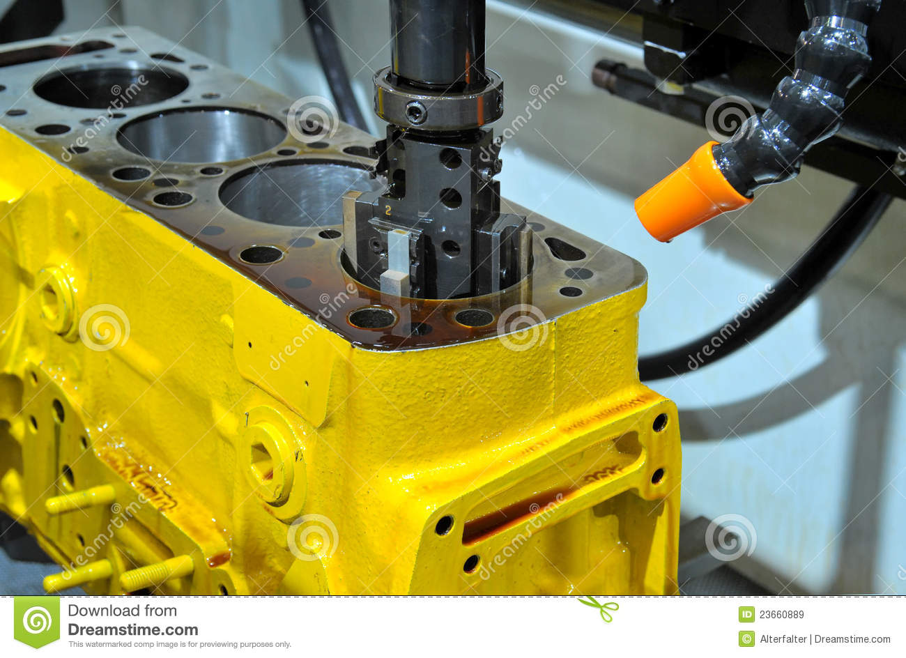 Drilling Of An Engine Block Stock Image Image 23660889