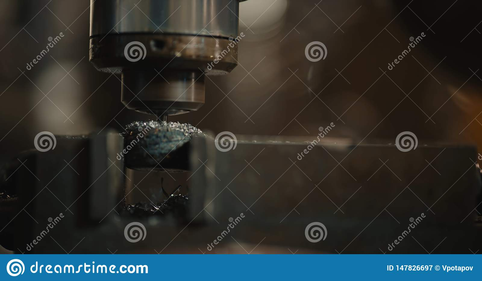 Drilling machine. The drill bit is installed in the drill chuck.