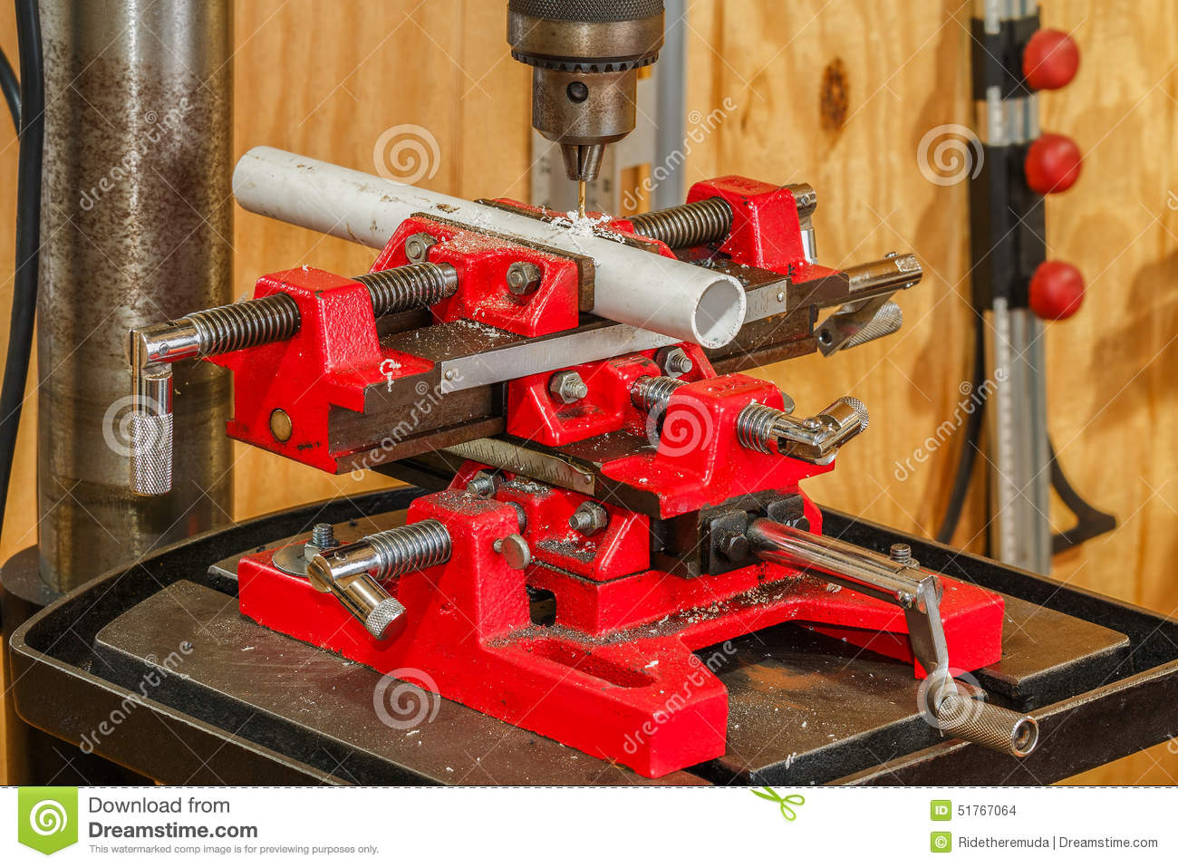 Drilling pvc pipe stock photo image