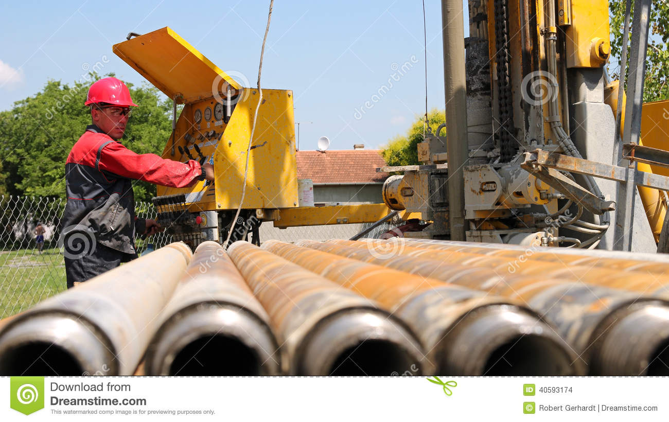 drilling rig operator stock photo image of hardhat field 40593174 rh dreamstime com Gas Drilling Rigs Water Well Drilling Rigs