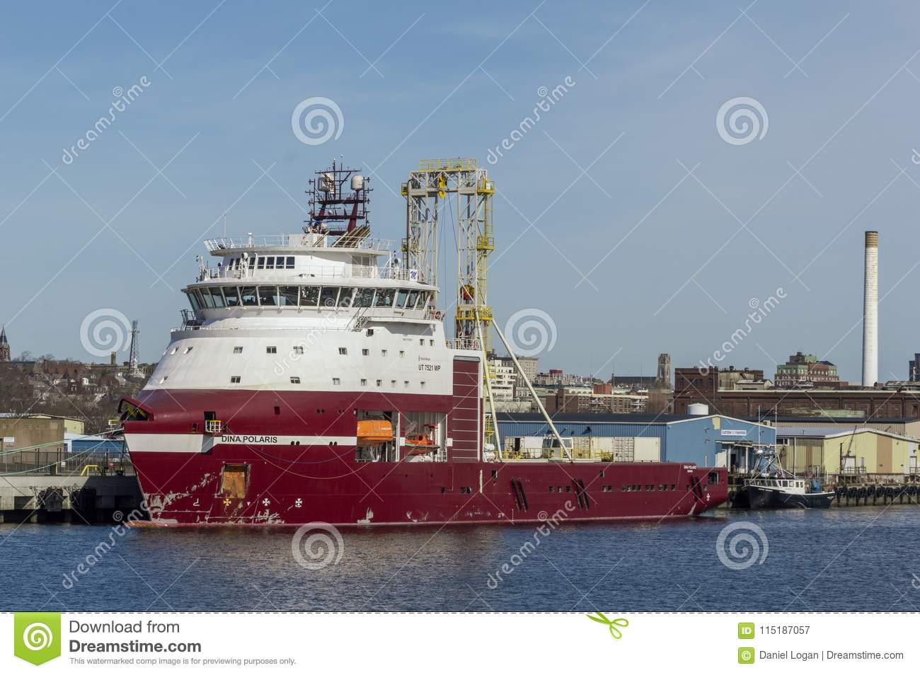 Drilling Vessel Dina Polaris Docked In New Bedford Editorial
