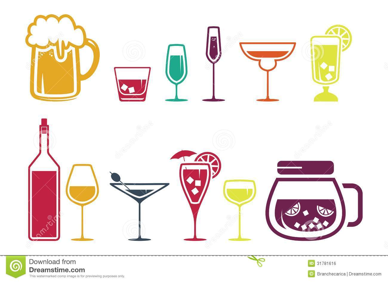 Royalty Free Stock Image Drink Alcohol Beverage Icons Set Vector Illustration Image31781616 on cup of juice clip art