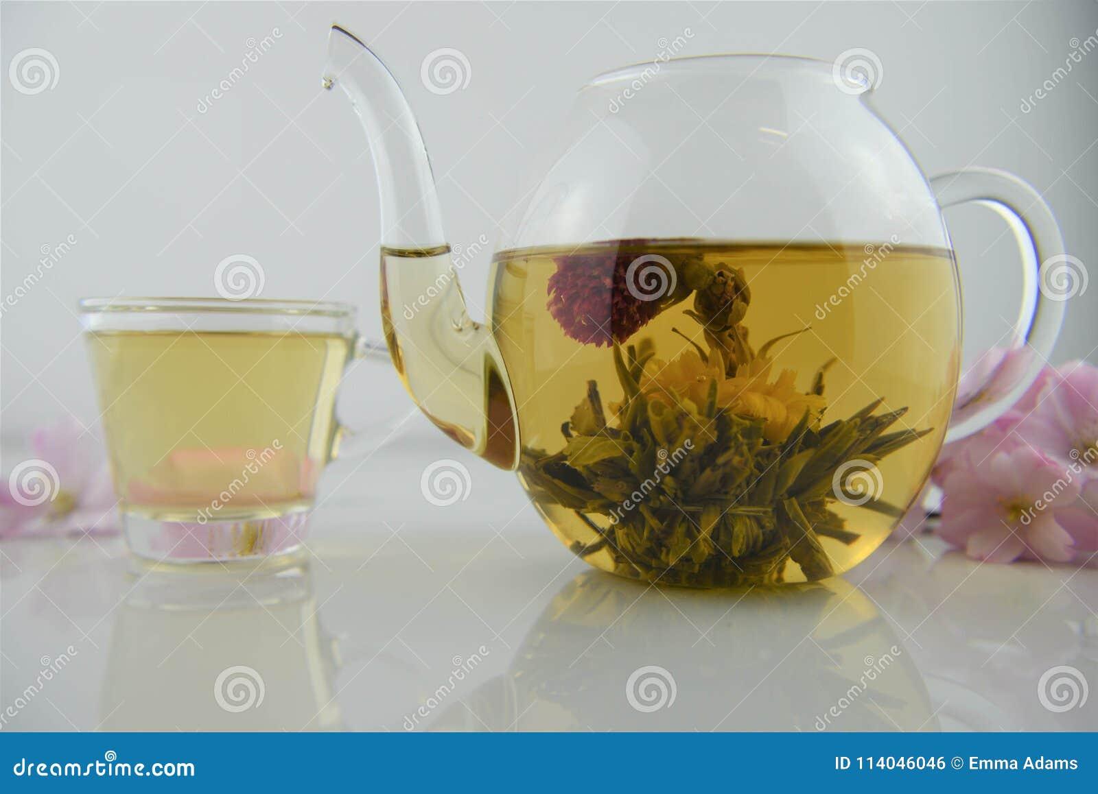 Drink av blomningte i den glass tekannan med den hällda koppen i bakgrund