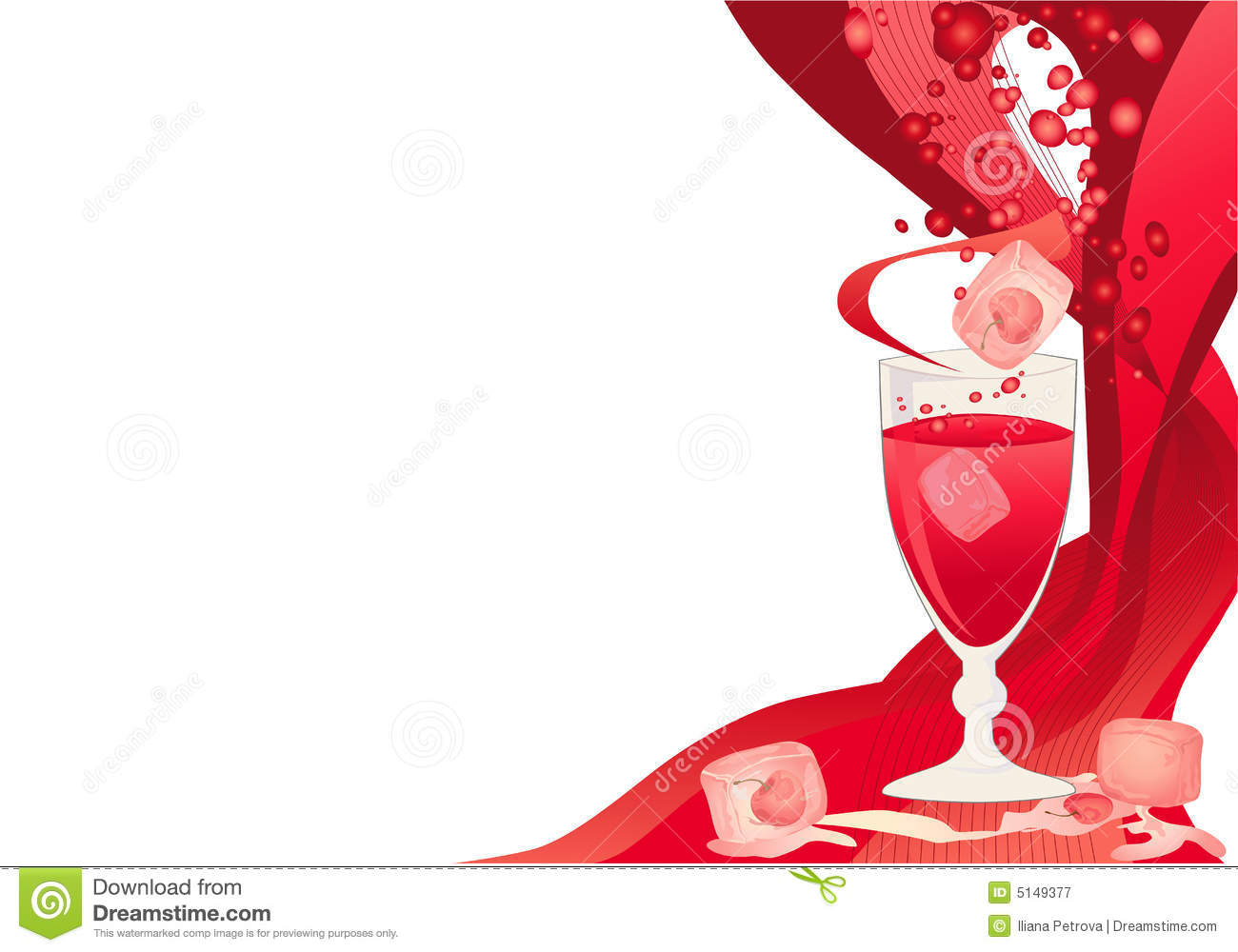 drink card with ice and cherries royalty free stock