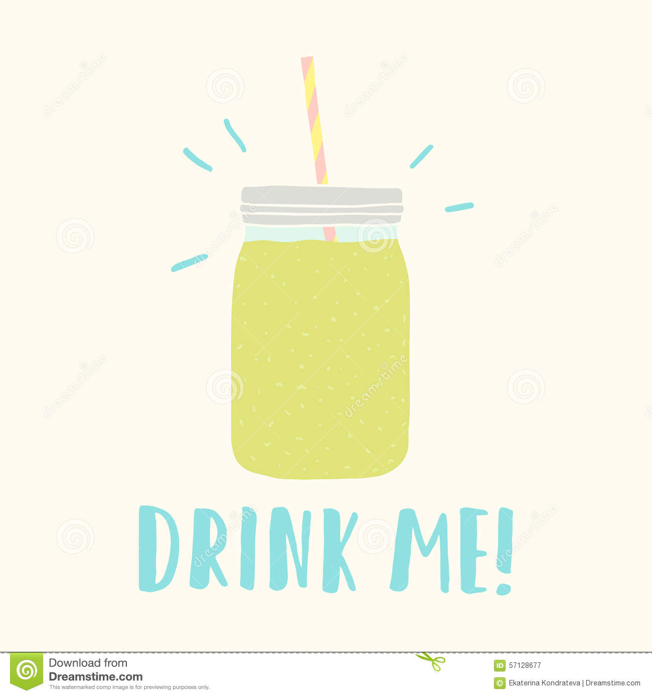 drink me mason jar with green smoothie stock vector image 57128677. Black Bedroom Furniture Sets. Home Design Ideas