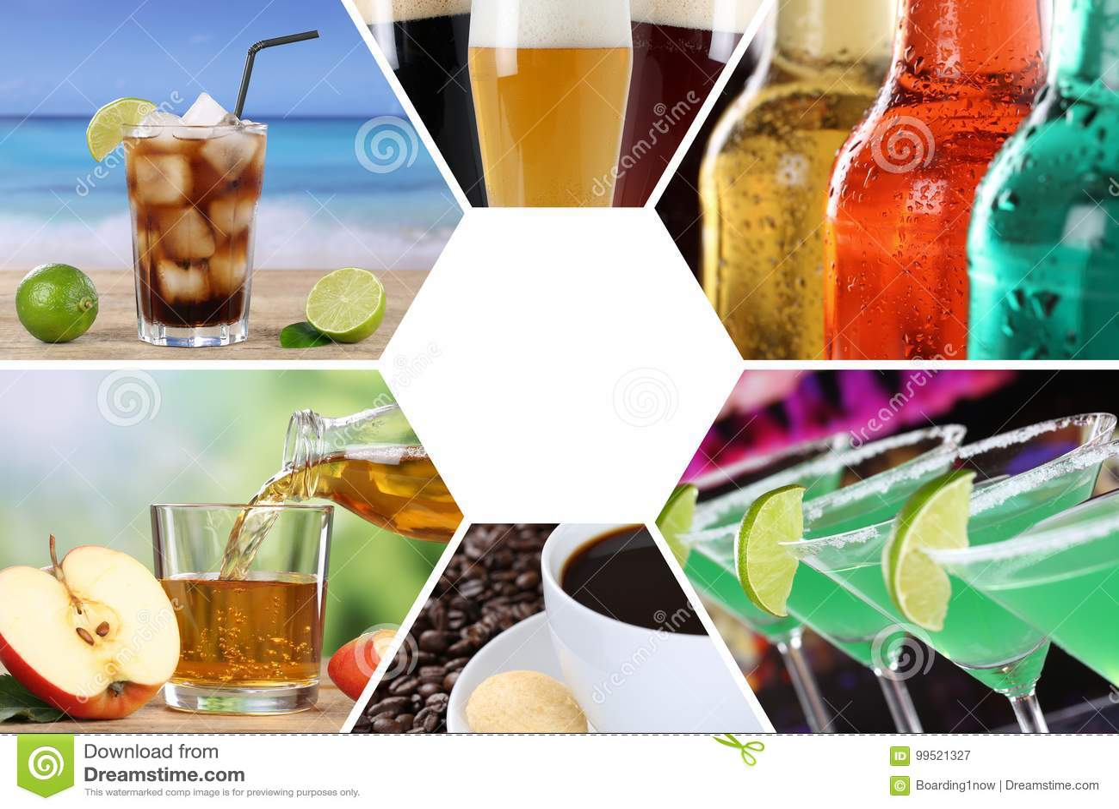 Drink menu collection collage beverages drinks restaurant bar