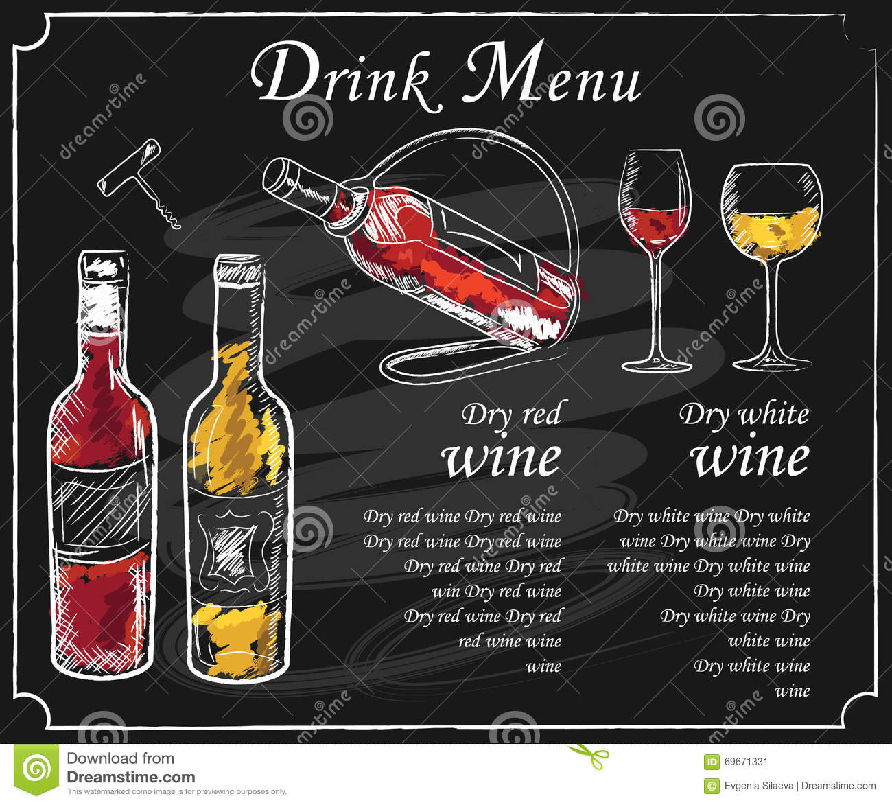 Drink Menu Stock Image
