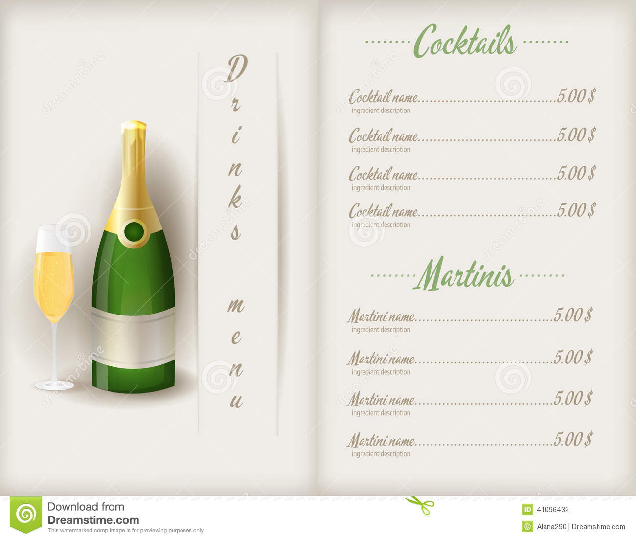 Drink Menu Template Vector Image 57564757 – Drinks Menu Template Free