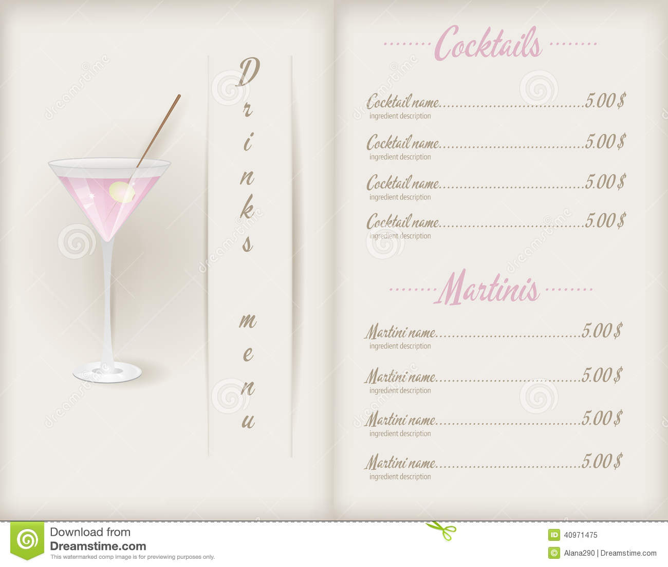 Drink Menu Template Vector Image 40971475 – Drinks Menu Template Free