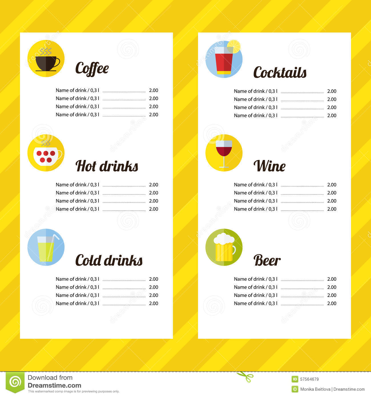 Drink Menu Template Stock Vector Illustration Of Restaurant - Free printable drink menu template