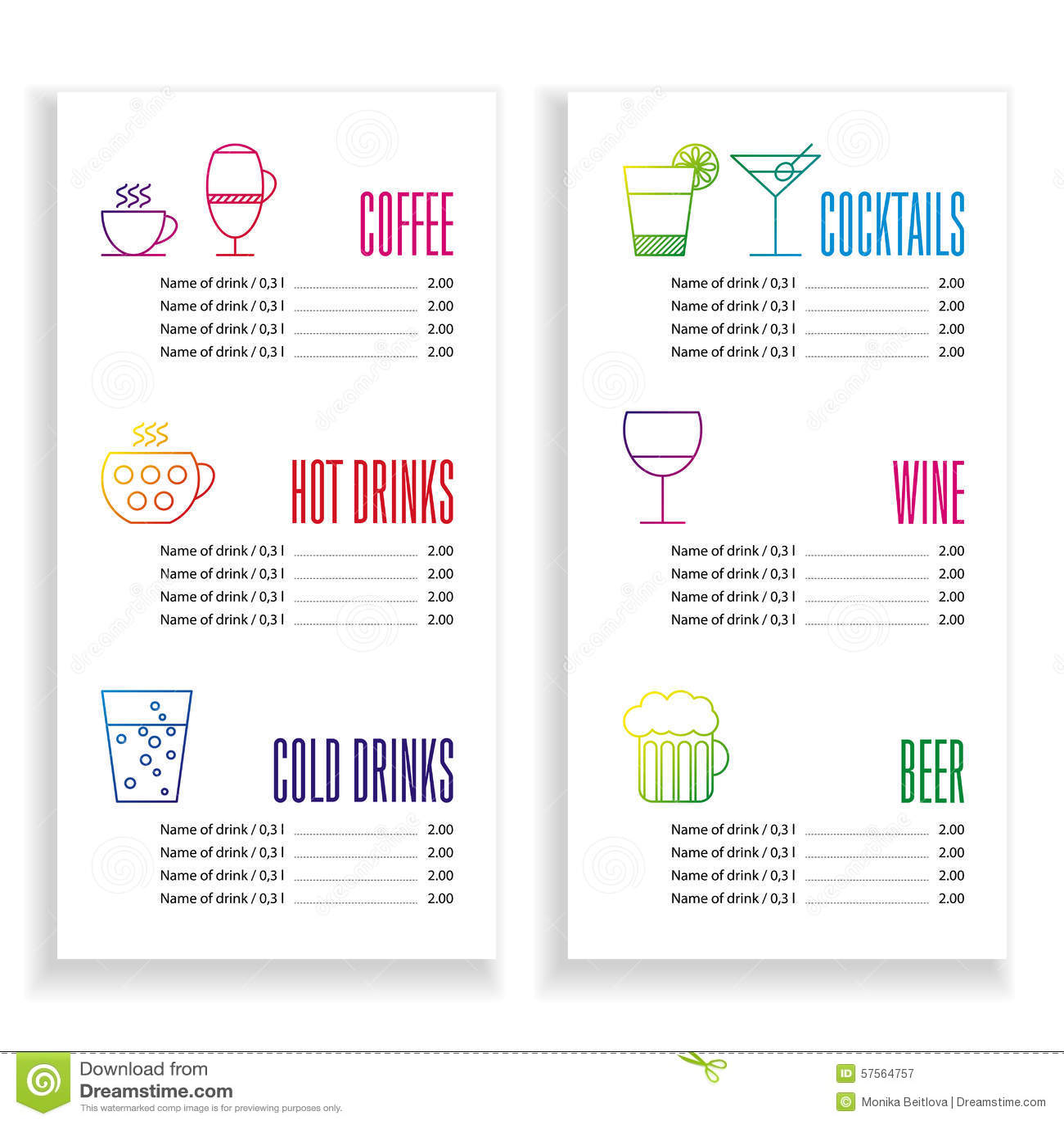 drink menu template stock vector