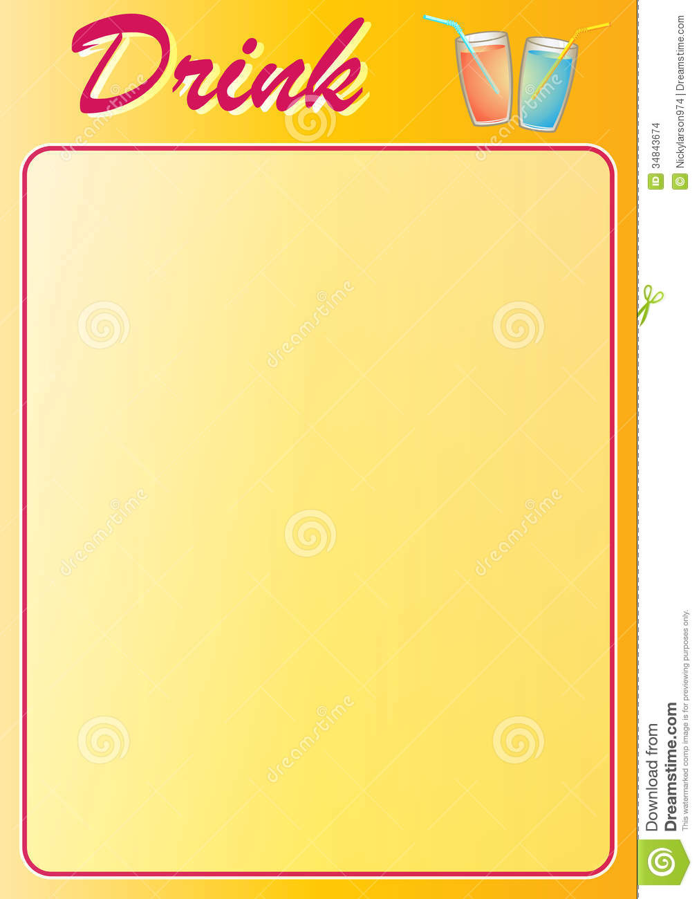 Drink Menu Stock Images Image 34843674