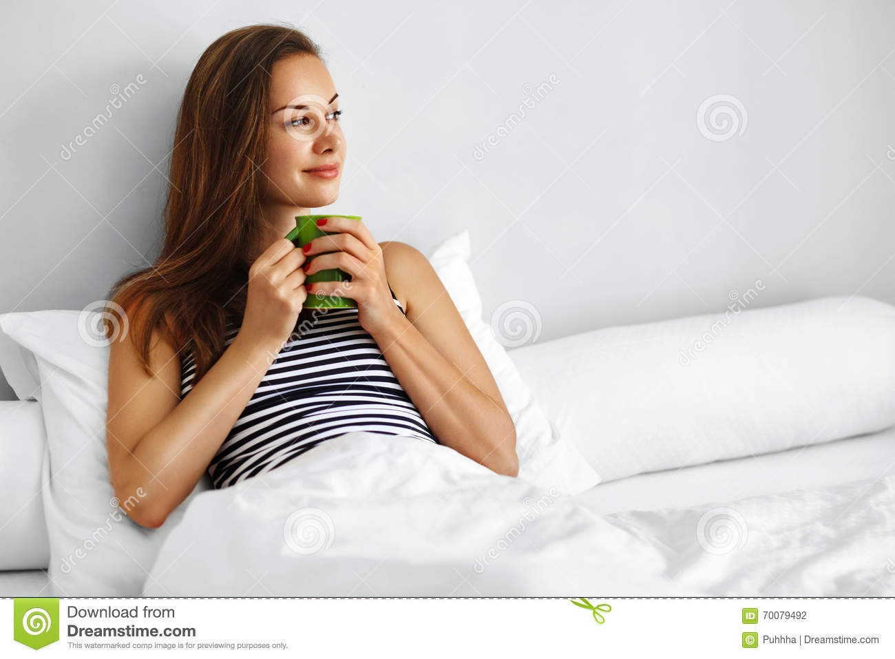 Drink Morning Tea. Woman Drinking Beverage In Bed. Healthy Lifesyle