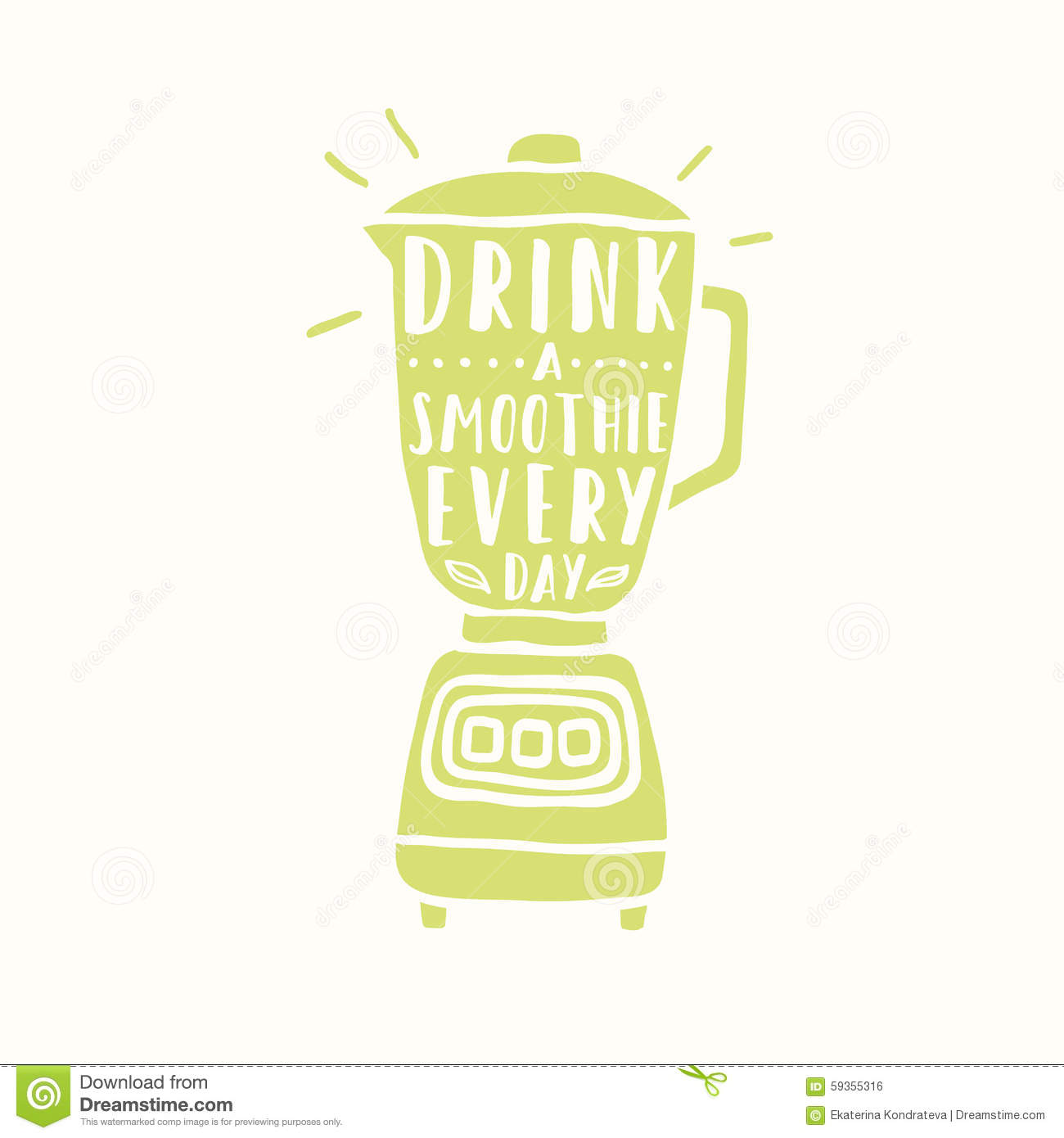 Drink A Smoothie Everyday Blender Silhouette Stock Vector