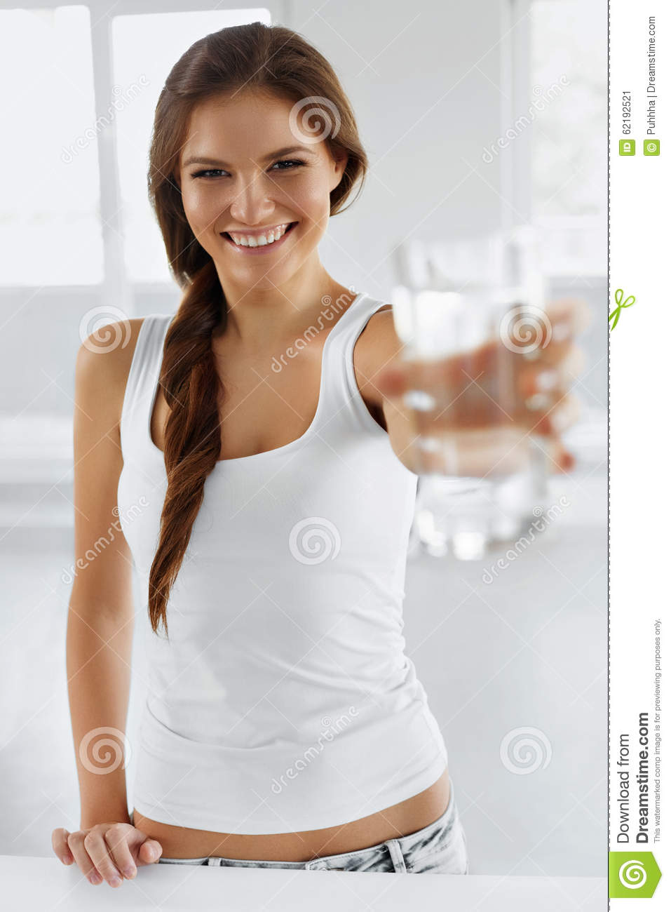 Drink Water. Happy Smiling Woman Drinking Water. Healthy Lifestyle. Health, Diet Concept.