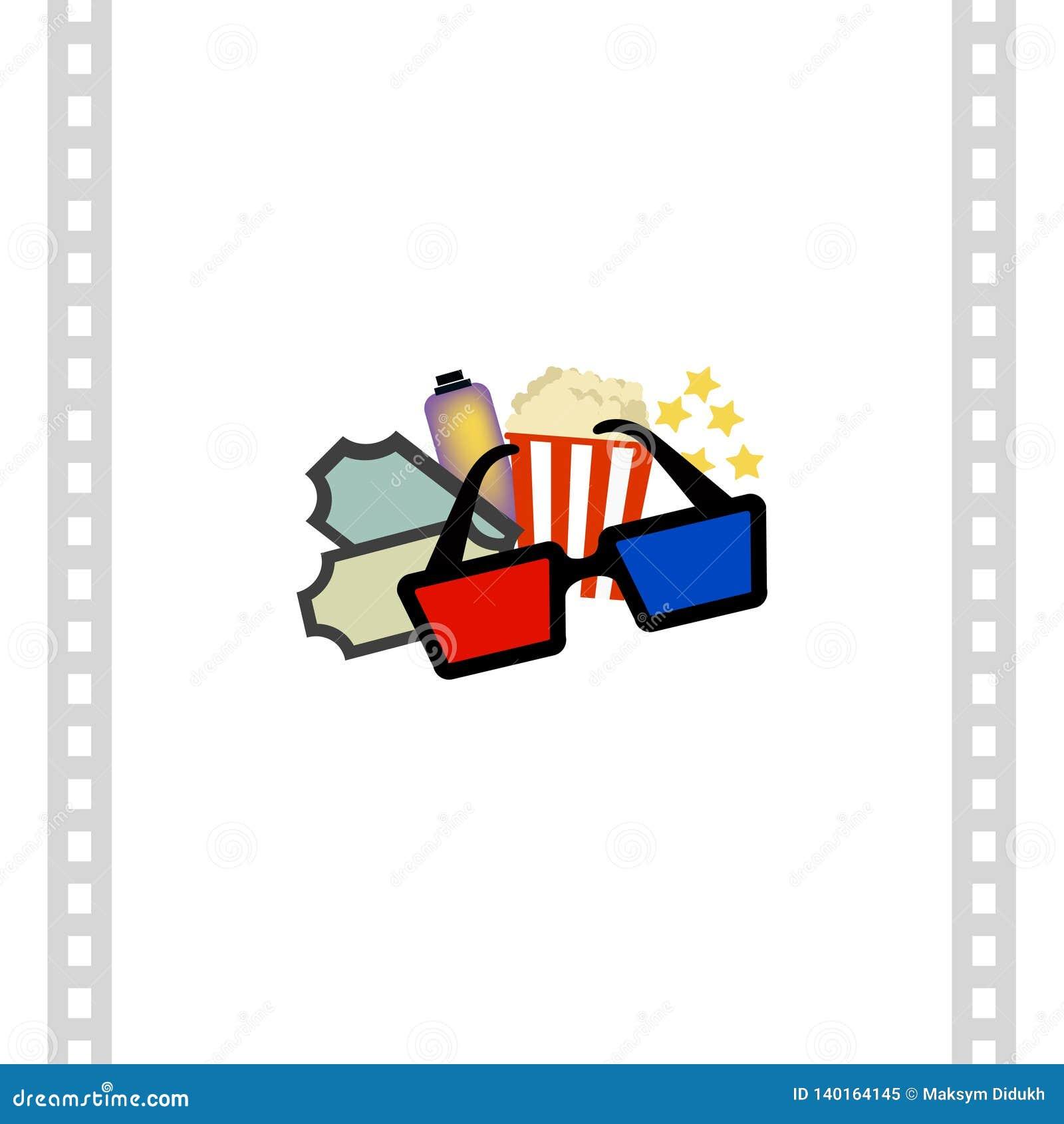 Drinkar och exponeringsglas som 3D isoleras på vit bakgrund Film också vektor för coreldrawillustration
