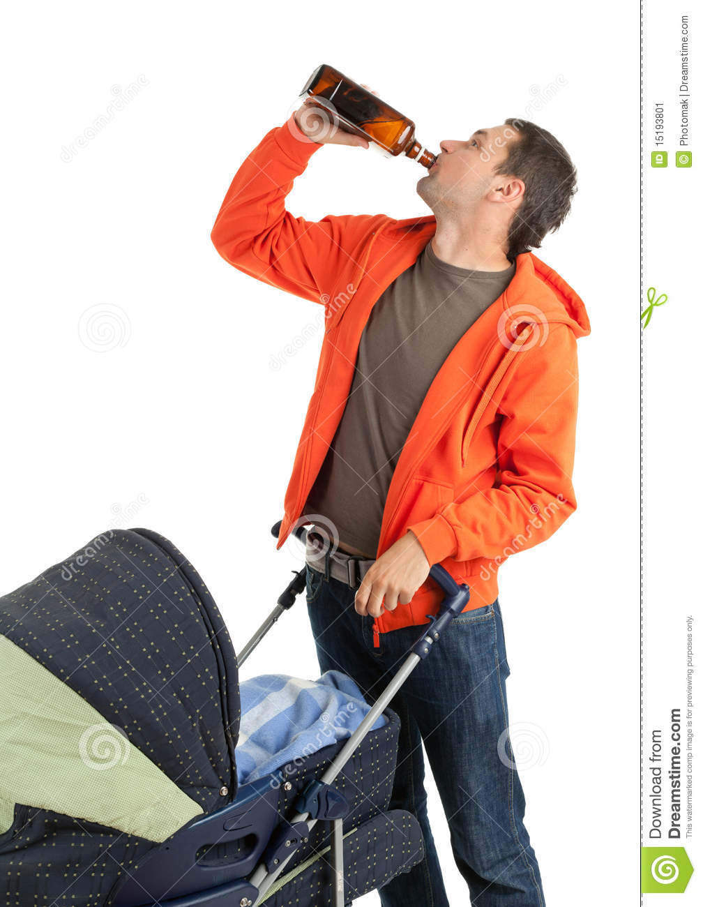 Drinking Alcohol Father With Baby Buggy Stock Image - Image: 15193801