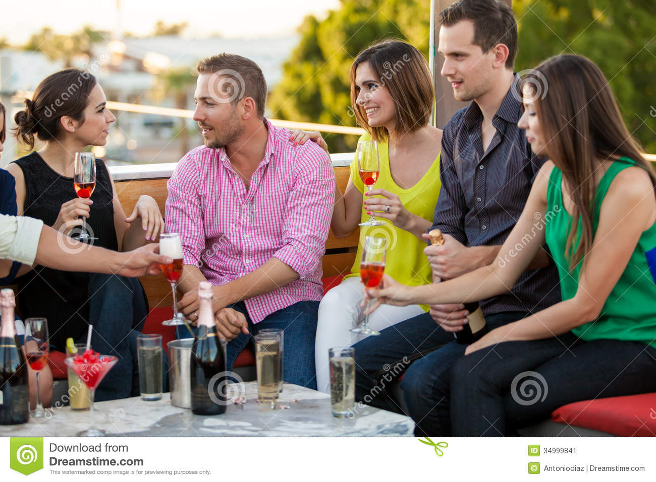 Drinking Champagne With Friends Stock Image - Image of